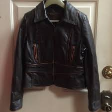 leather ranch brown leather jacket sz