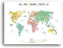 Amazon Com Oh The Places You Ll Go Children S Illustrated World Map Poster 24x17 Global Nursery Art Perfect For Nursery Decor Bedroom Decor Playroom Map And Classroom Map Educational Kid S Room Map