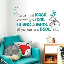 Dr Seuss Quote Wall Decal Wall Decal And Wall Decordecor Nursery Wall Decals Quotes Reading Nook Kids Library
