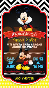 Tarjeta Invitacion Cumpleanos Digital Mickey Mouse Whatsapp
