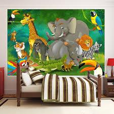 Jungle Animals Wall Mural Kids Room Decoration Boys And Girls Nursery Zoo Safari Adventure Wallpaper Tiger Lion Monkey Buy Jungle Animals Wall Mural Kids Room Decoration Wallpaper Product On Alibaba Com