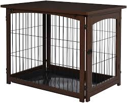 Amazon Com Pawhut Wooden Decorative Dog Cage Pet Crate With Fence Side Table Small Animal House And Tabletop Brown Home Kitchen
