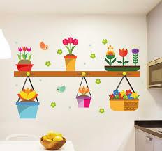 Flower Pots Plant Wall Sticker Tenstickers
