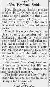 Henrietta Fredonia Morris Smith Obit 1924 - Newspapers.com