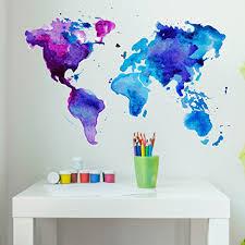 Watercolor World Map Wall Decal Wall Sticker Vinyl Wall Art Home Decor Wall Mural Sd3071 31x21 Walmart Com Walmart Com