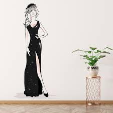 Lady In Black Dress Fashion Wall Decal Sticker Ws 50614 Ebay