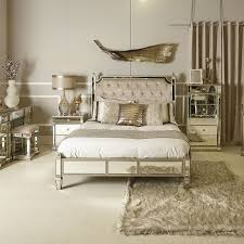 athens gold mirrored king size bedframe