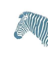 Blue Zebra Print Scandinavian Nursery Decor Animal Friends For Kids Room Minimal Mixed Media By Studio Grafiikka
