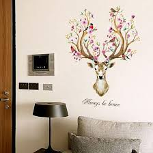 Always Be Brave Floral Antlered Deer Head Wall Art Mural Nordic Style Home Interior Decoration Nordicwallart Com