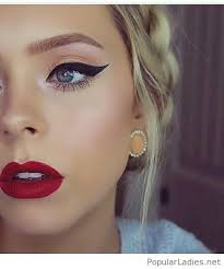 red lips makeup with eyes