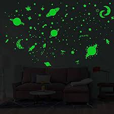 Amazon Com Hiko23 Glow In The Dark Wall Stickers Stars Moon Shape Luminous Art Decal Fashion Stick Home Wall Decor For Living Room Bedroom Kids Nursery Room Green Home Kitchen