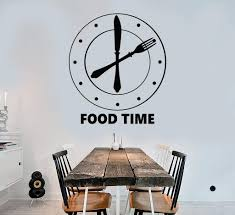 Vinyl Wall Decal Clock Food Time Kitchen Funny Decoration Stickers Uni Wallstickers4you