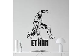 Personalized Iron Man Wall Decal Custom Name Superhero Avengers Poster Marvel Comics Tony Stark Superheroes Vinyl Sticker Cool Movie Wall Art Kids Teen Boys Room Bedroom Wall Decor Mural Wish