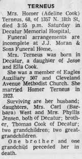 Mary Adeline (Cook) Terneus - Obituary - The Decatur Herald 11 Jul ...