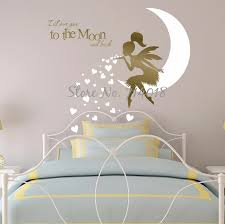 Kids Wall Sticker Fairy Newest Fairy Wall Decal With Blowing Heart Kisses I Love You To The Moon And Back Vinyl Wall Decor A934 Fairy Wall Decals Wall Sticker Fairywall Decals Aliexpress