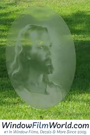 Oval Christ Etched Glass Decal Static Cling Window Film World