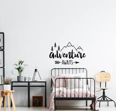 Adventure Awaits Nursery Wall Decal Kids Bedroom Wall Art Sticker Inspirational Quote Explore Decals Home Decor G85 Wall Stickers Aliexpress