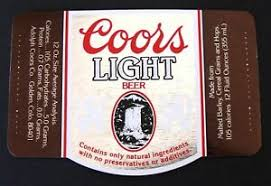 Adolph Coors Co COORS LIGHT BEER paper beer label CO 12oz silver & copper |  eBay
