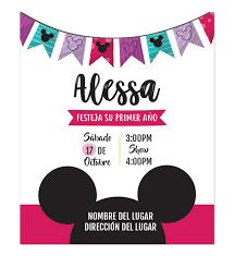 Invitacion Cumpleanos Mickey Nina Disenos Personalizados