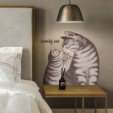Hot Offer 647f4 Cute Cat Hand Painted Realistic Wall Sticker Bedroom Bedside Decor Pet Shop Wall Decor Window Stickers Self Adhesive Home Decor Cicig Co