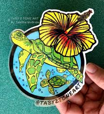 5 Inch Cruising Turtles Sticker With Yellow Hibiscus Sticker Car Decal Sea Turtle Hibiscus Flower Car Accessories Hawaii Ocean Beach