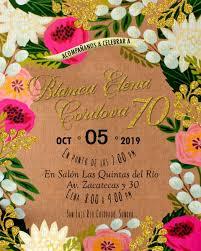 Invitacion De Cumpleanos Tema Flores Fondo Impreso Kraft