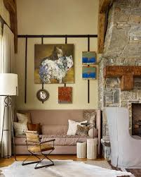 rustic lake house living room with