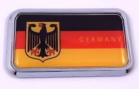 Germany Deutschland Flag Rectanguglar Chrome Emblem Car Decal Sticker Car Chrome Decals