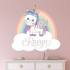 Rainbow Unicorn Wall Decal Personalized Name Custom Name Etsy Unicorn Wall Decal Wall Decals Nursery Wall Decals
