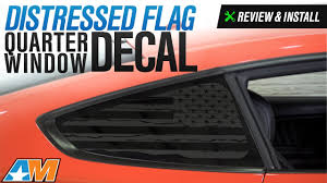 Sec10 Mustang Distressed Flag Quarter Window Decals Matte Black 397323 15 20 Fastback
