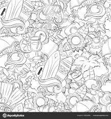 Seamless Abstract Vector Doodle Background Summer Cartoon