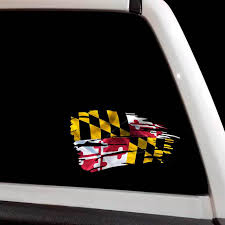 Tattered Maryland State Flag Decal Jeep Chevy Ford Md Crab Sticker
