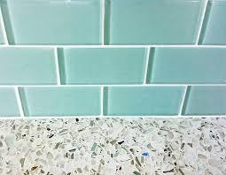 turquoise glass subway tile backsplash