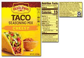 old el paso taco seasoning calories