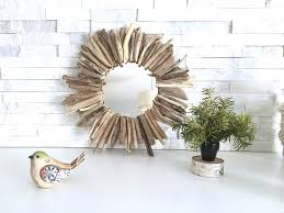 small round driftwood mirror authentic