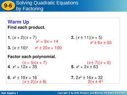 holt algebra 1 9 6 solving quadratic