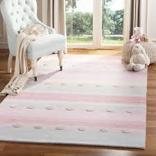 Bartel Hand Loomed Wool Light Blue Pink Area Rug Girls Room Rugs Kids Area Rugs Kids Rugs