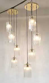 pair of long glass pendant lights