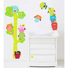 Owls Height Chart Removable Fabric Wall Stickers