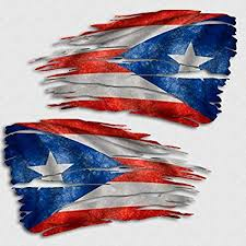 Amazon Com Aftershock Decals Puerto Rico Flag Tattered Decal Set Us Territory Island Distressed Sticker Automotive