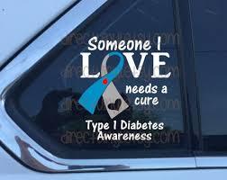 Cure Type 1 Diabetes Awareness Vinyl Window Decal Etsy