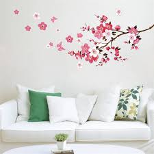 Blossom Sakura Flower Butterfly Wall Stickers Home Decor Living Room Bedroom Wall Decals Arts Pvc Mural Diy Wallpaper Poster Butterfly Wall Stickers Stickers Home Decorwall Sticker Aliexpress