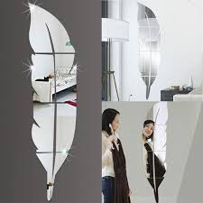 3d Mirror Vinyl Feather Wall Sticker Decal Diy Room Art Mural Removable Wall Paper Home Decor Sale Banggood Com