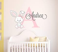 Amazon Com Custom Bunny Name Wall Decal For Girls Bunny Room Decor Nursery Wall Decals Bunny Wall Decor Mural Sticker Kitchen Dining