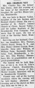 Ada Owens Ney, dau of Reuben Owens and Hannah Hontz, obituary -  Newspapers.com