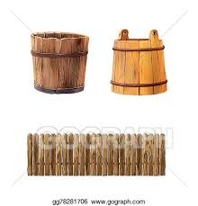Stock Illustration Illustration Of A Wooden Fencewith Round Edges Wooden Bucket Isolated On White Background Clipart Illustrations Gg78281706 Gograph
