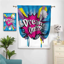 Amazon Com New Modern Simple Roman Curtain Pop Art Funky Dream On Quote W42 X L72 For Kids Room Home Kitchen