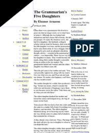Eleanor Arnason - The Grammarian's Five Daughters | Fiction ...