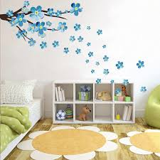 New Style Blue Plum Wall Sticker Art Decals Living Room Sofa Bedroom Wall Background Decorations Plum Blossom Stickers Wallpaper Wallcorners Art Canvas