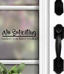 Script Front Door Window Please No Soliciting Sign Vinyl Decal Sticker
